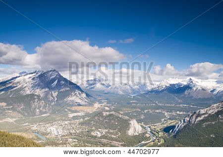 Banff anc Rocky Mountains Aerial View