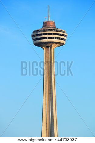 NIAGARA FALLS, NY - SEPT 1: Skylon Tower closeup on September 1, 2012 in Niagara Falls, New York. Overlooking Niagara Falls, it was the second tower to be built using the concrete slipform method.