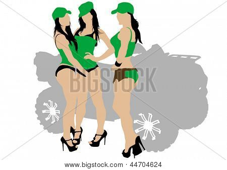 image of young girls in uniform and quadbike