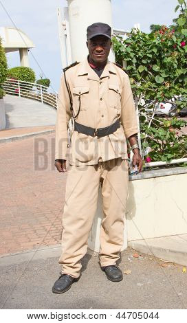 MAPUTO, MOZAMBIQUE - APRIL 29: Unidentified man working as security guard at hotel in Maputo, Mozambique on April 29, 2012. High crime rate remains to be a problem for growing economy of Mozambique.