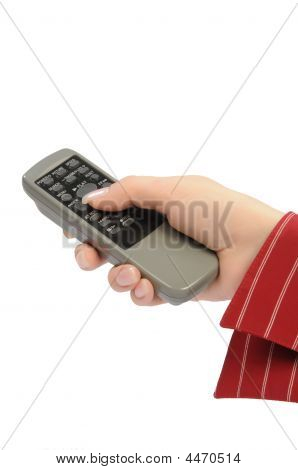 Womanish Hand Holds Remote Control Unit
