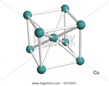 Isolated 3D Model Of A Crystal Lattice Of Copper