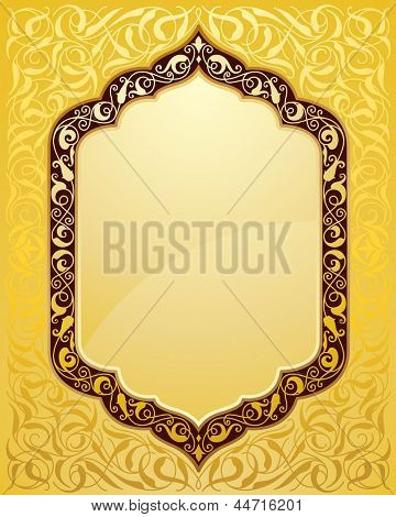 elegant islamic template design in gold background