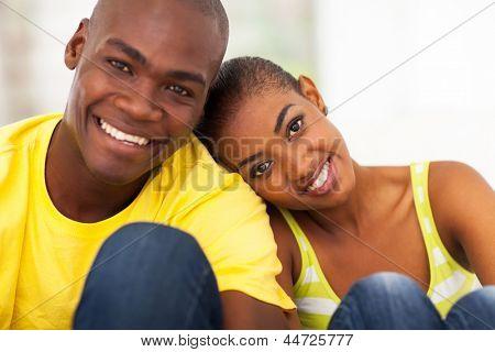 close up portrait of cute black couple