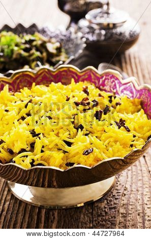 persian rice with saffron and barberries poster
