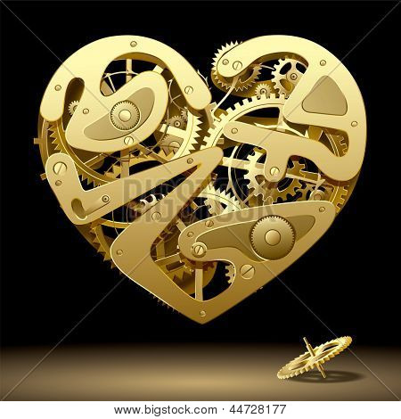 Vector image of gold clockwork heart on the black background with a pinion