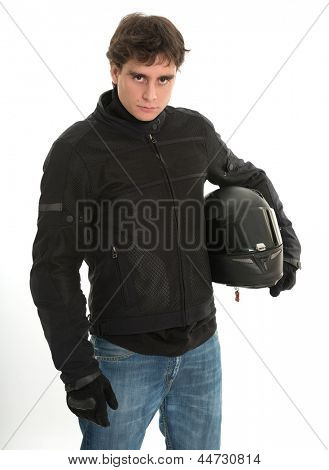 Bicker in black holding his crash helmet