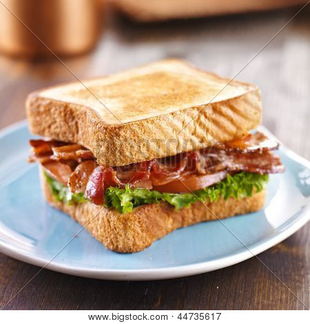 BLT bacon lettuce tomato sandwich on blue plate