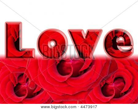 Word Of Love - Red Roses Card Design
