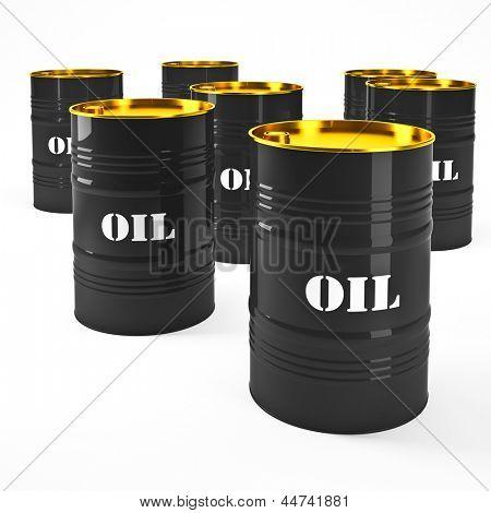 3d image of oil barel on white