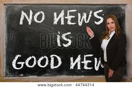 Teacher Showing No News Is Good News On Blackboard