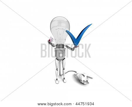 """The robot """"bulb"""" Holds in a hand """"yes"""" sign and show """"ok""""  isolated on a white background"""