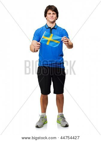 Young Man Holding Swedish Flag Isolated On White Background