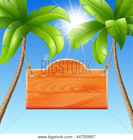 Wooden signboard on a palm. Vector illustration of a summer holiday in the tropics