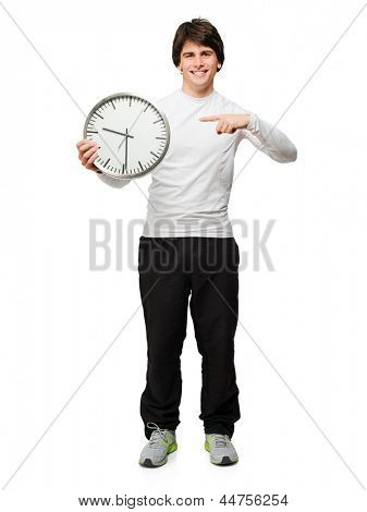 Young Man Holding Wall Clock Isolated On White Background