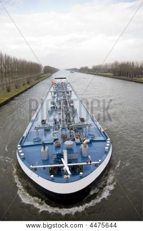 Inland navigation on the Amsterdam-Rijn canal in the Netherlands poster