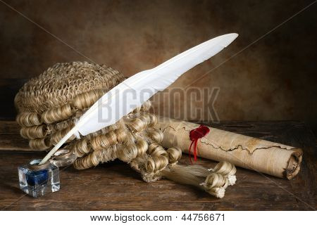 Genuine horsehair judge's wig with parchment and quill