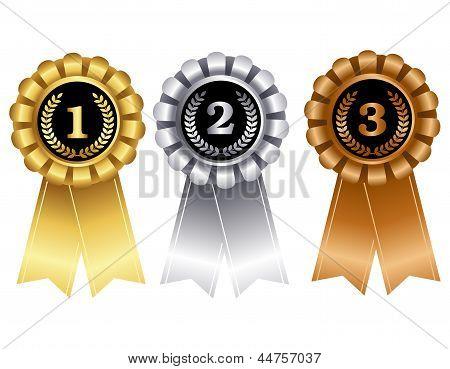 Gold Silver And Bronze Award Ribbons