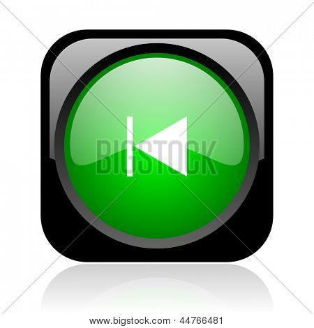 prev black and green square web glossy icon