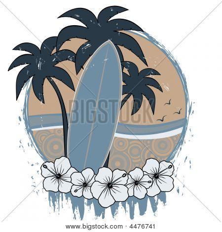 Surfboard Retro Grunge