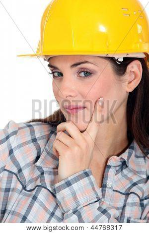 Tradeswoman contemplating life