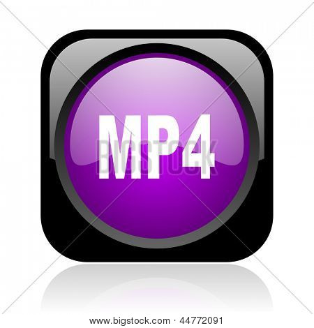 mp4 black and violet square web glossy icon