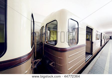 Empty white and brown wagons of underground in Moscow, Russia.