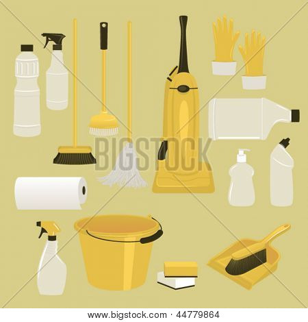 Set of Cleaning Supplies and Tools, including vacuum cleaner, mop, brushes, bucket, plastic gloves and bottles of cleaning agents