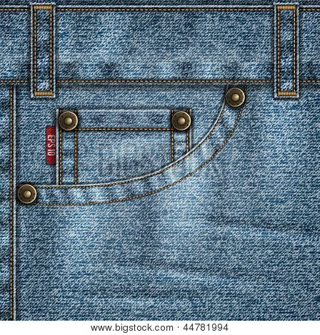 Denim template with jeans pocket, rivets, stitches and folds - eps10