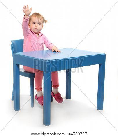Little scholar in the school desk.