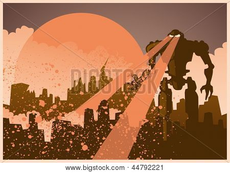 Giant evil robot destroying the city. Vector illustration.