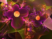 Abstract background. Violet - orange palette. Raster fractal graphics. poster