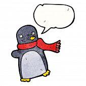 cartoon penguin wearing scarf poster