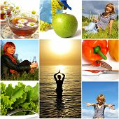 Healthy lifestyle concept. Diet nutrition and fitness poster