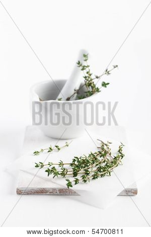 Fresh Thyme In Mortar