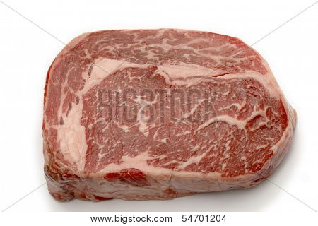 Ribeye steak from Australian Wagyu cattle. This is fram a Japanese breed of cattle which are famed for heavy marbling and high proportion of unsaturated fats. It is the most expensive kind of beef.