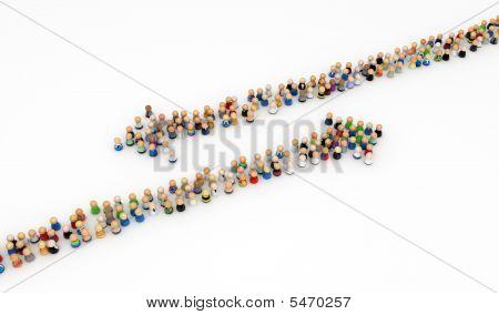 Cartoon Crowd, Opposite Arrows