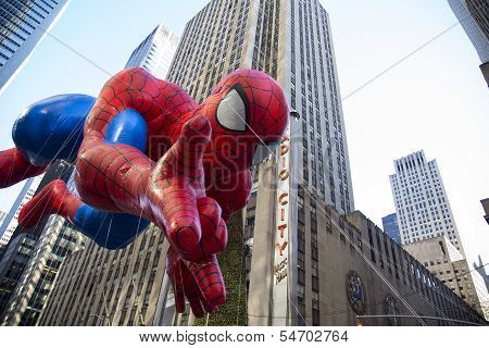 Spiderman balloon passing Radio City Music Hall