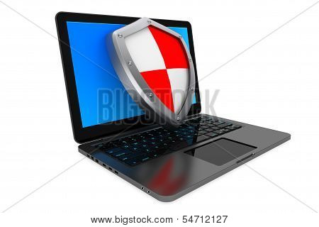Antivirus concept. Laptop computer protected by shield on a white background poster
