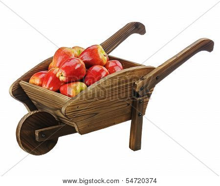 Red Apples On Wooden Pushcart Isolated On White Background.
