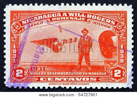 Postage Stamp Nicaragua 1939 Will Rogers Standing Beside Plane