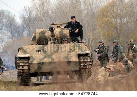 Kiev, Ukraine - November 3: JGerman tank (replica) is displayed on the Field of Battle military history festival on November 3 , 2013 in Kiev, Ukraine