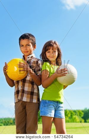 6 Years Old, Boy And Girl With Balls