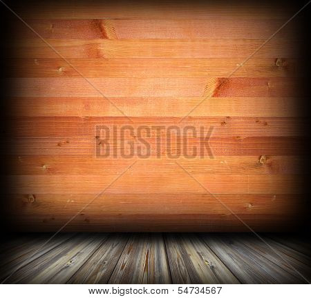 indoor background with wood planks finishing and wooden floor poster