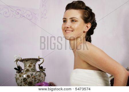 Profile Of Happy Bride In Stylish Interior