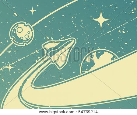 Spacecraft retro space theme background