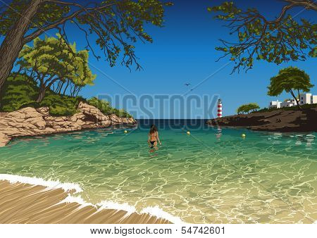 Vector illustration of the Majorca beach