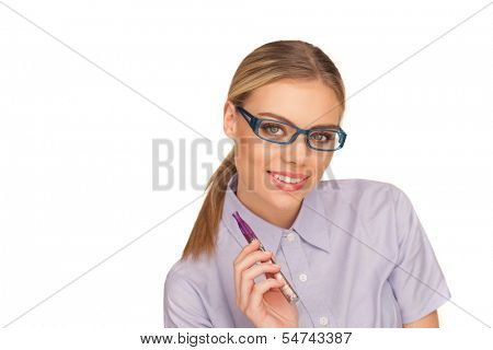 happy business woman smoking e-cigarette on white