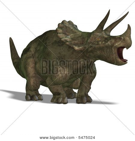Dinosaur Triceratops. 3D render with clipping path and shadow over white poster