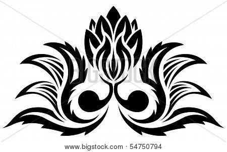 Black floral pattern, silhouette